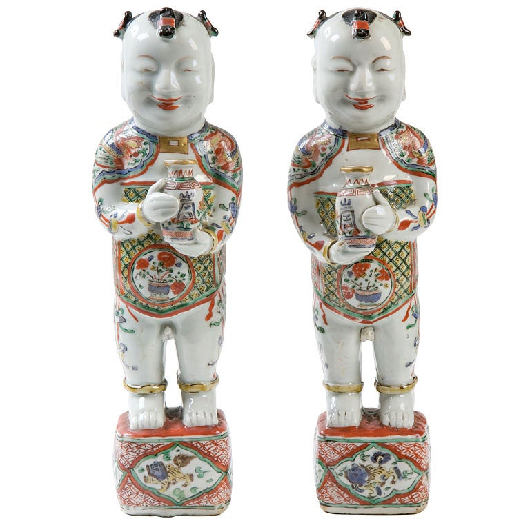 Pair Of Chinese Porcelain Figures Of Ho Ho Boys At 1stdibs