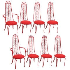 Eight Stunning Red Iron Scroll Dining and Patio Chairs