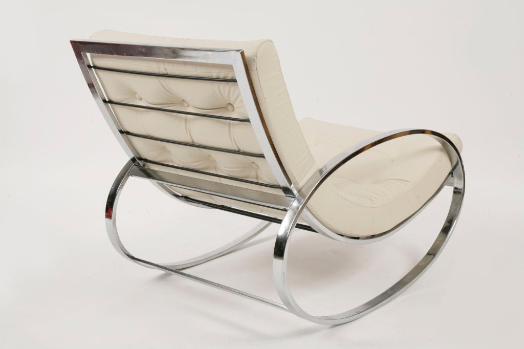 selig chrome and leather rocking chair at 1stdibs