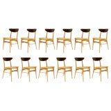 Set of 12 Teak and Leather Chairs by Faarup