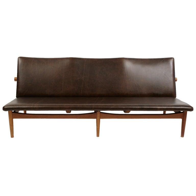 finn juhl leather and teak sofa at 1stdibs. Black Bedroom Furniture Sets. Home Design Ideas