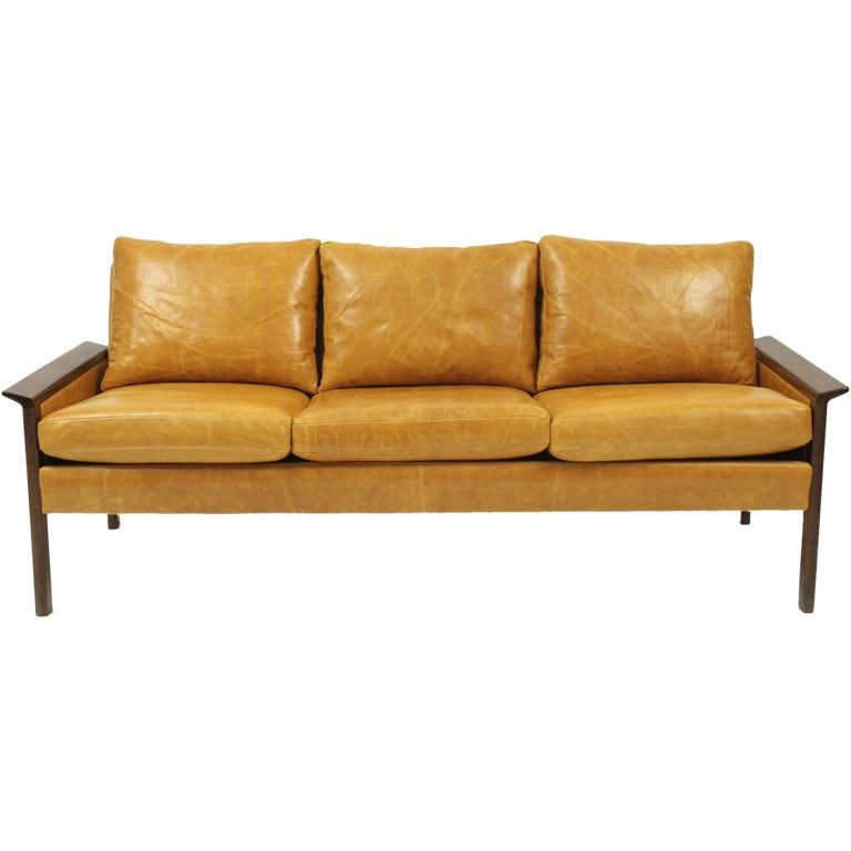 Hans Olsen Rosewood And Leather Sofa At 1stdibs