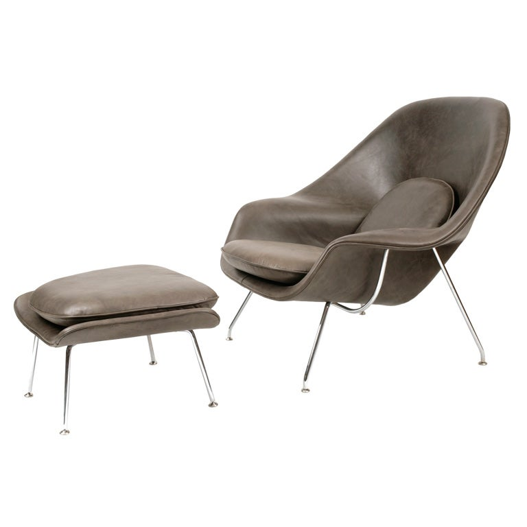 this eero saarinen for knoll leather womb chair and ottoman is no