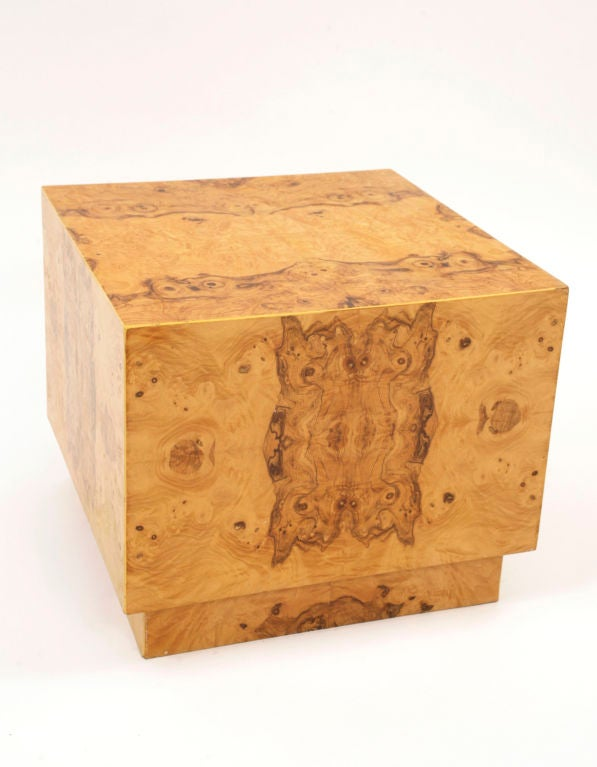 Milo Baughman For Thayer Coggin Burl Wood Cube At 1stdibs