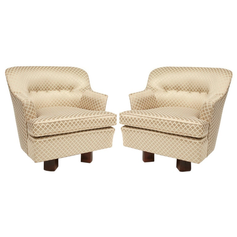 Pair of Erwin Lambeth Swivel Barrel Chairs at 1stdibs