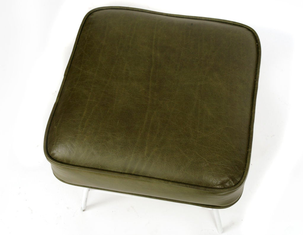 Olive green leather and iron stools at 1stdibs