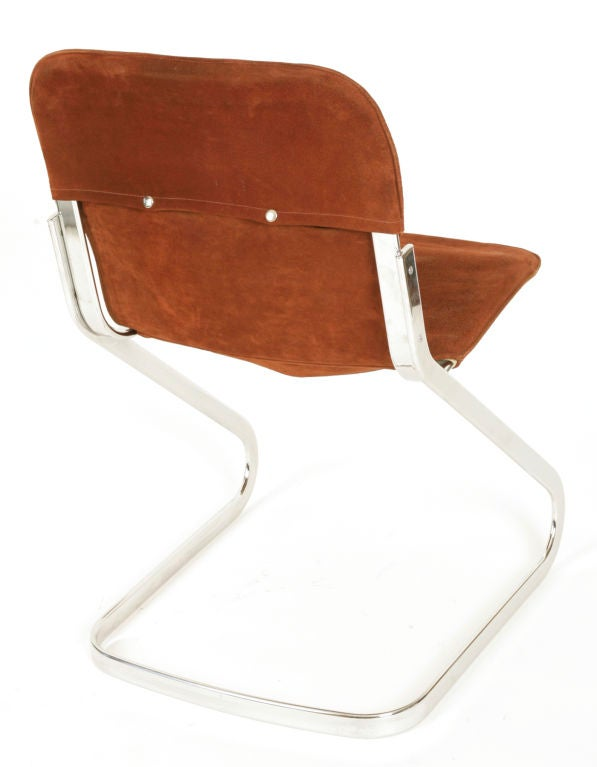 6 Suede And Chrome German Dining Chairs At 1stdibs