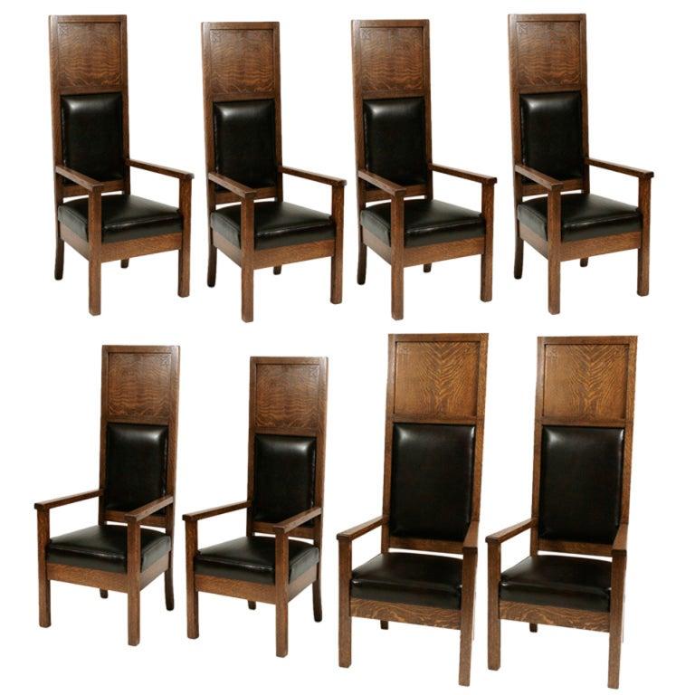Phenomenal Masonic Lodge Oak Chairs At 1stdibs