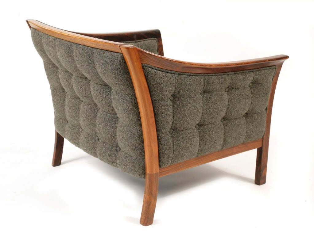 Pair of Rosewood and Micro Tufted Lounge Chairs at 1stdibs