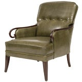 Decorative Green Leather & Mahogany Lounge Chair