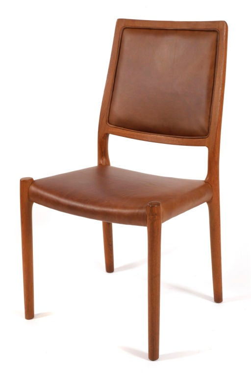 6 Niels Moller Teak And Leather Dining Chairs At 1stdibs