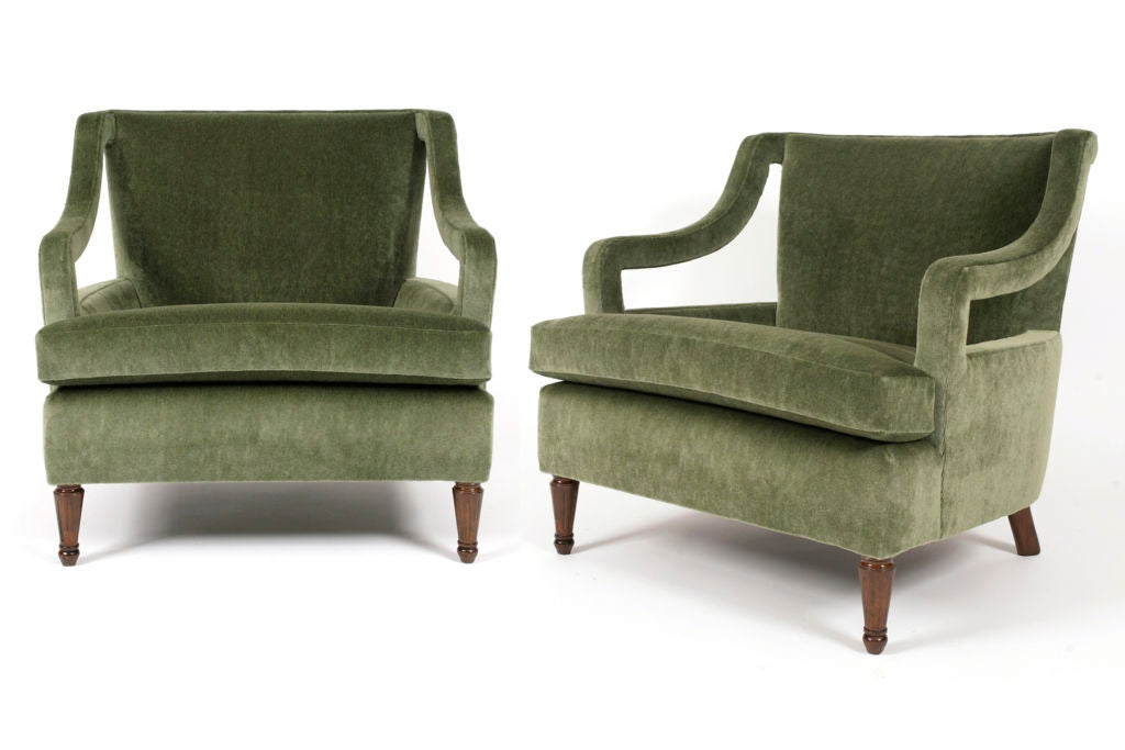Decorative Arm Chairs ~ Pair of sage mohair decorative arm chairs at stdibs