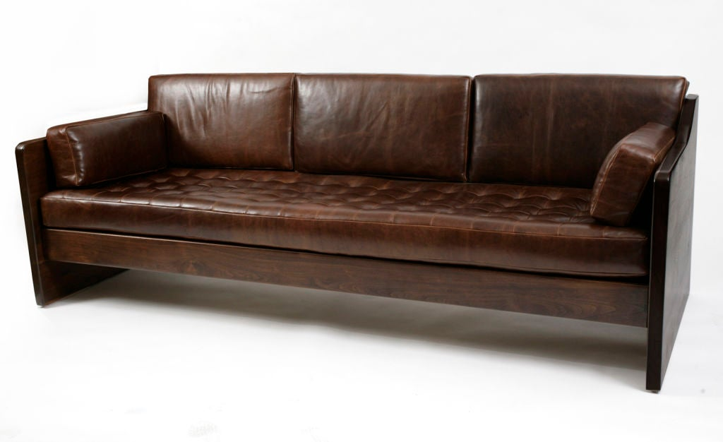 Craftsman Revolutionary Walnut And Leather Sofas At 1stdibs