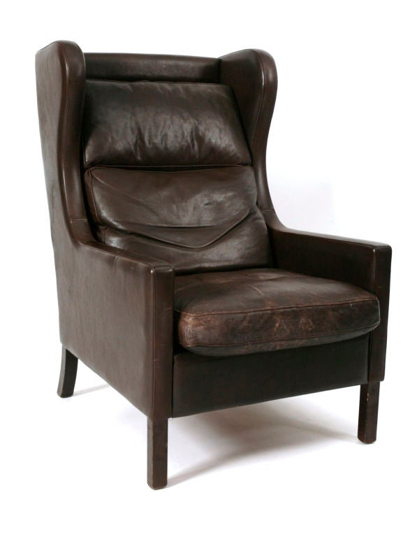 Borge Mogensen Wingback Chair and Ottoman at 1stdibs