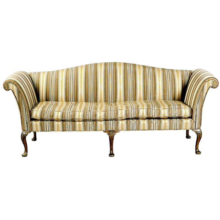 Camelback Sofa On Carved Cabriole Legs At 1stdibs
