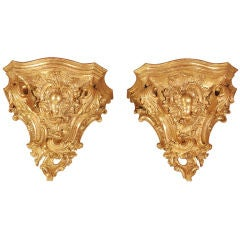 A Pair of Massive Gilt Brackets