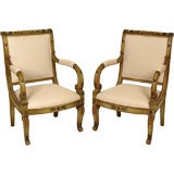 Pair of continental painted empire armchairs