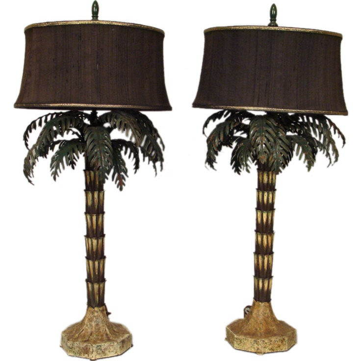 pair of tole palm tree lamps at 1stdibs. Black Bedroom Furniture Sets. Home Design Ideas