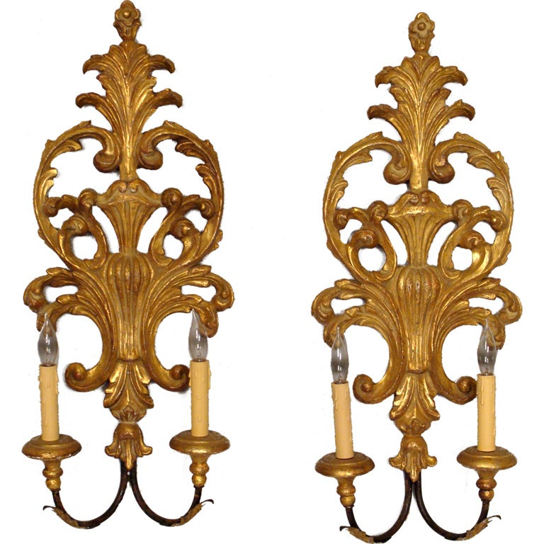 Italian Made Wall Sconces : Pair of Italian regence style gilt wood wall sconces at 1stdibs