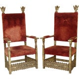 Pair of 19th century continental silver leaf hall chairs