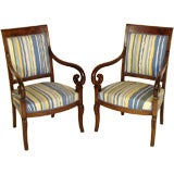 Pair of Charles X continental mahogany armchairs