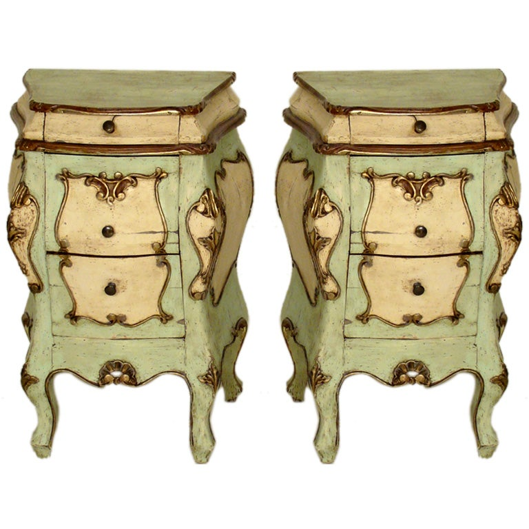 Pair of Italian Louis XV bombe occasional commodes