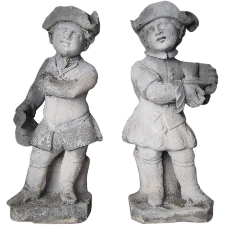 Pair of Limestone Statues