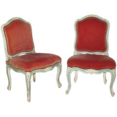 Pair of painted beechwood side chairs by Jean-Baptiste Tilliard