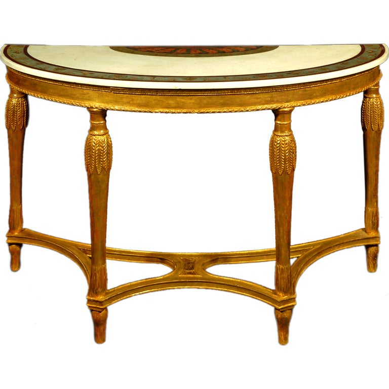 George III Painted Marble Top Giltwood Console Table For