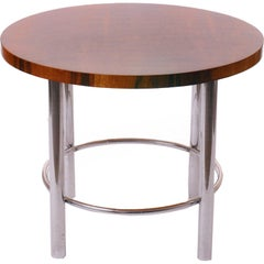Art Deco Walnut Table with Chrome Base