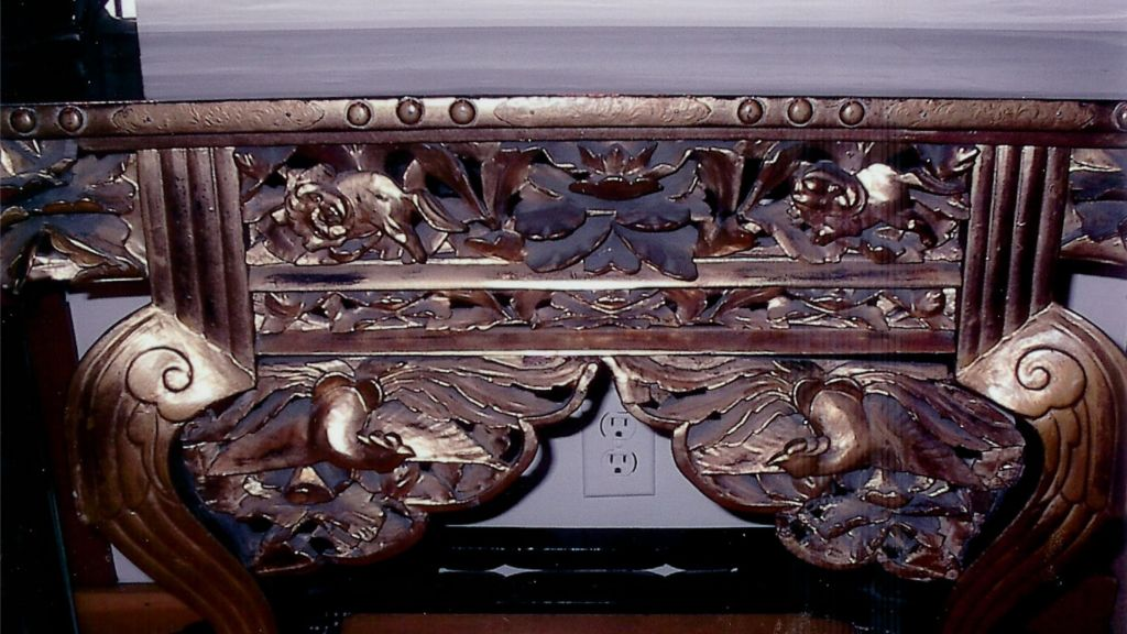 Japanese black lacquer altar table with gold trim for for Asian furniture tampa