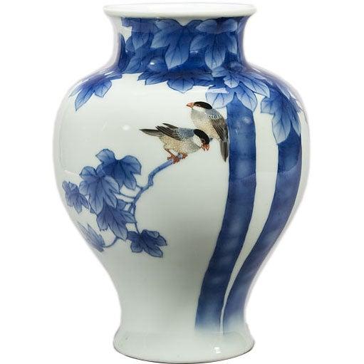 Japanese Porcelain Vase Of Birds In A Tree Branch At 1stdibs