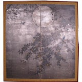 Two Panel Japanese Screen Painting: Moon and Wisteria.
