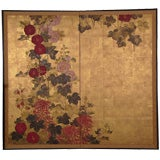 Two Panel Japanese Screen Painting: Hollyhocks on Gold.