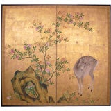 Two Panel Japanese Screen: Painting, Young Buck and Rose Bush.