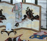 Japanese Screen: Painting of Scene Inside Imperial Household.