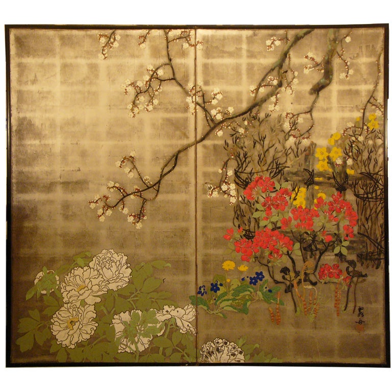 Two panel Japanese screen painting: Summer Flowers.
