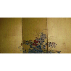 Six Panel Japanese Screen: Rimpa-Style Summer Flowers on Gold