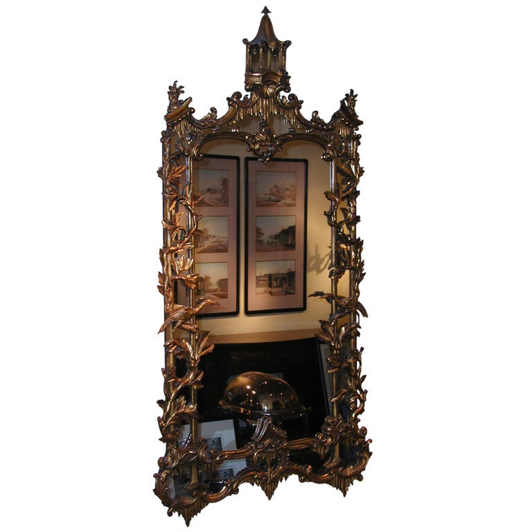 Chinese chippendale style giltwood mirror at 1stdibs for Asian style mirror
