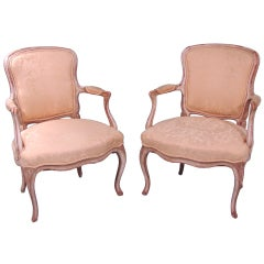 Pair of Louis XV Style Painted Arm Chairs