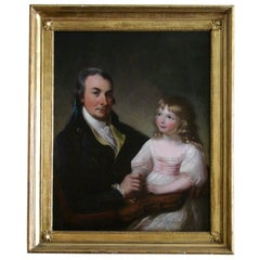 English Oil on Canvas of a Gentleman and His Daughter