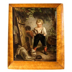 Charming English Painting of Boy and Dog