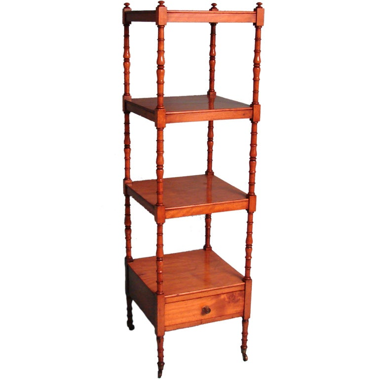 fine regency period satin birch etagere with drawer for sale at 1stdibs. Black Bedroom Furniture Sets. Home Design Ideas
