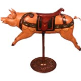 Amusing painted carved wood carousel pig