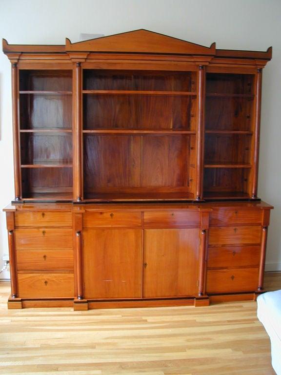 19th Century Biedermeier Ebonized Birch Breakfront Bookcase For Sale 2