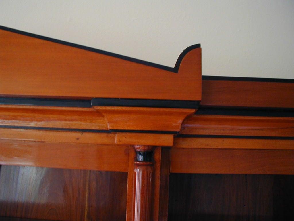 19th Century Biedermeier Ebonized Birch Breakfront Bookcase In Good Condition For Sale In San Francisco, CA