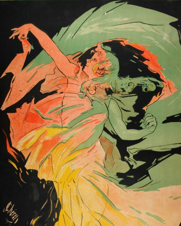 Original French Poster for Loie Fuller by Cheret In Good Condition For Sale In Los Gatos, CA