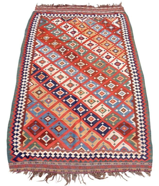 Diagonally Geometric Qashqai Kilim Rug Circa 1900