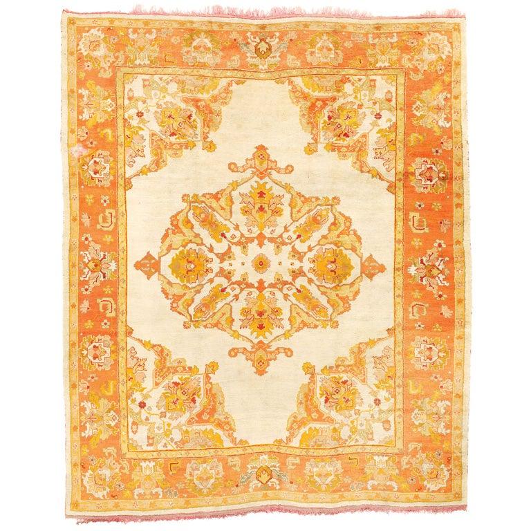 Turkish Ground Rug: Beautiful Ivory-Ground Oushak Carpet At 1stdibs