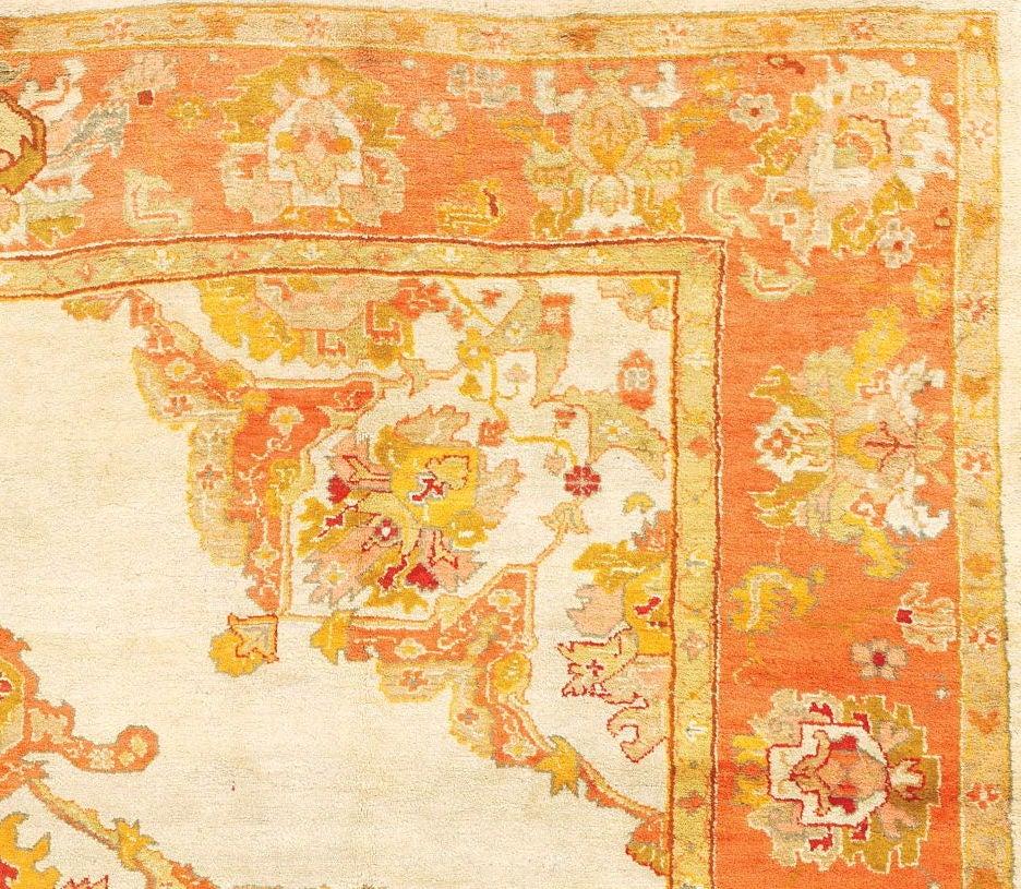 Turkish Ground Rug: Beautiful Ivory-Ground Oushak Carpet For Sale At 1stdibs